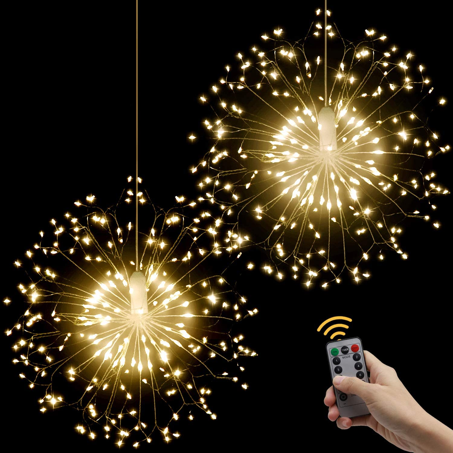 Starburst Lights, LED Firework String Light 8 Modes with Remote Control, Battery Operated Hanging Fairy Lights for Christmas Wedding Party Patio Garden Decoration-2 Pack