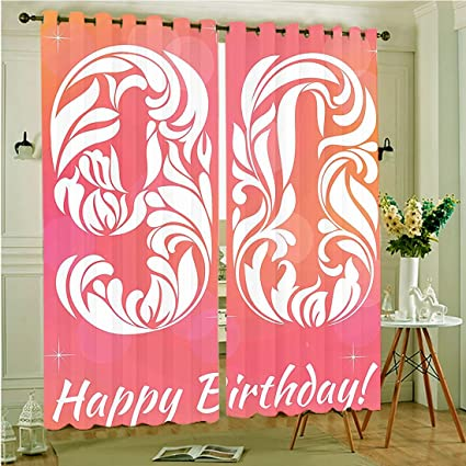 Two Panel Set Window Curtain 90th Birthday Decorations Flower Inspired Number Design Stars Background Celebration Pink