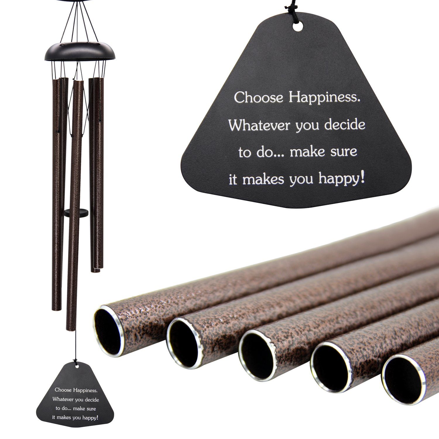 "Wind Chimes Outdoor Deep Tone,36""Large Sympathy Wind Chimes Amazing Grace Outdoor with 5 Metal Tubes,Memorial Wind Chimes for Patio Home Garden Hanging Decor,Bronze"