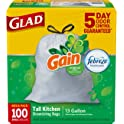 100-Count Glad OdorShield Tall Kitchen Drawstring 13 Gallon Trash Bags