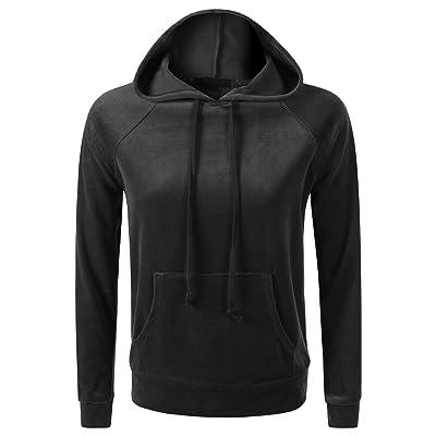 7 Encounter Women's Velour Pull Over Hoodie with Kangaroo Pocket Sweatshirt at Women's Clothing store