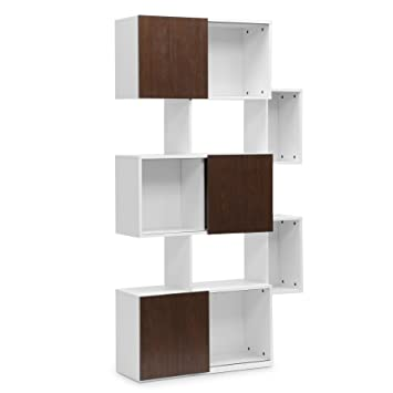 Baxton Studio Harriette Modern Bookshelf White And Walnut Amazon