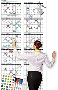 PlannerPro Large Dry-Erase Wall-Calendar Perfect for Family Schedule,Project Plan,Office,Classroom Easy to Clean with Premium Lamination Undated Giant 60x45 Blank 12-Month Reusable Annual-Planner