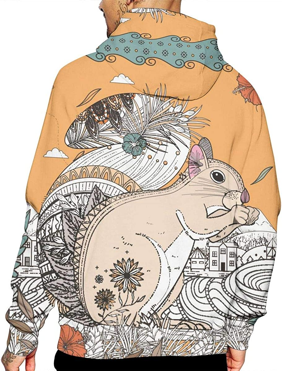 Vintage Retro Squirrel Mens Front Pouch Pocket Pullover Hoodie Sweatshirt Long Sleeves Pullover Tops