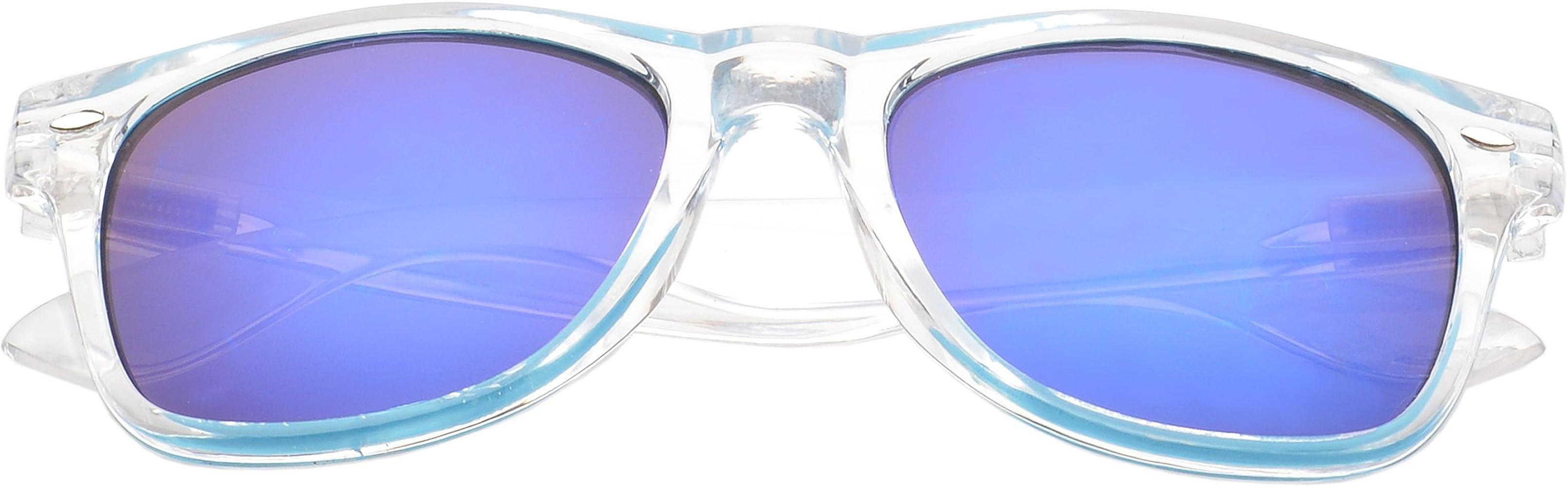 MLC Eyewear St Lucas Retro Square Fashion Sunglasses in Clear Frame Green Lenses