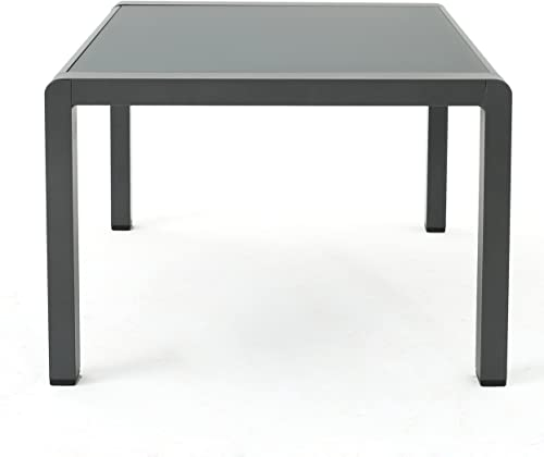 Christopher Knight Home Cape Coral Outdoor Aluminum Coffee Table with Tempered Glass Table Top, Grey