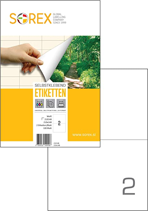 100 Sheets 2 labels per sheet A4 self adhesive Address Labels