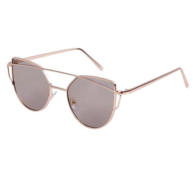 Sonnenbrille Damen Retro Runde Box Katze Augen Sonnenbrille , Silber / Silber