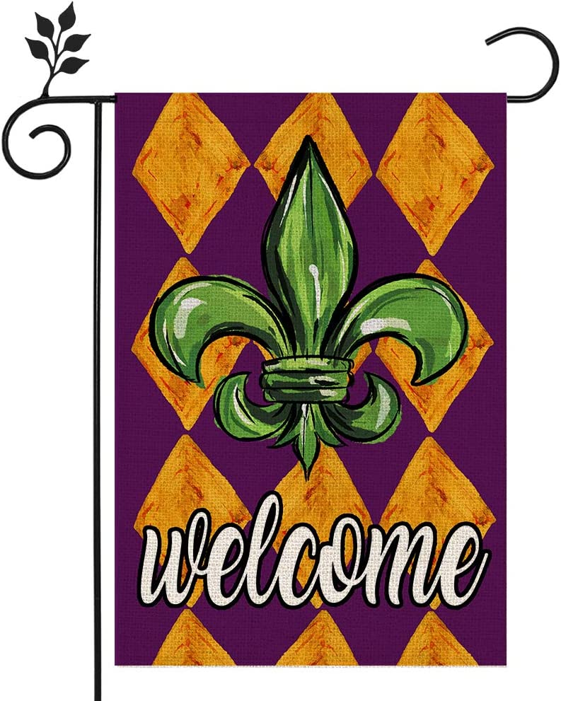 CROWNED BEAUTY Mardi Gras Welcome Garden Flag 12×18 Inch Small Fleur de Lis New Orleans Vertical Double Sided Flag for Outside Yard Carnival Party Farmhouse Décor CF042-12