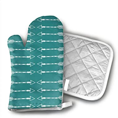 Ubnz17X Tribal Arrows Teal Oven Mitts and Pot Holders for Kitchen Set with Cotton Non-Slip Grip,Heat Resistant