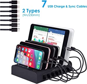 7 Port USB Charging Station Multi Device USB Charging Dock Station HUB Desktop Charging Stand Organizer Compatible for iPhone ipad Airpods iwatch Kindle Tablet Multiple Devices