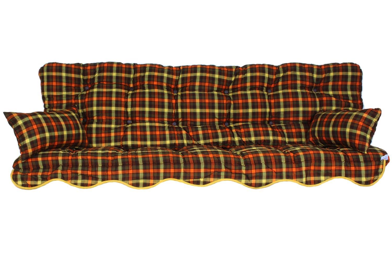 Polsterauflage Hollywoodschaukel 180x50 Modell 148 braun/Orange/grün