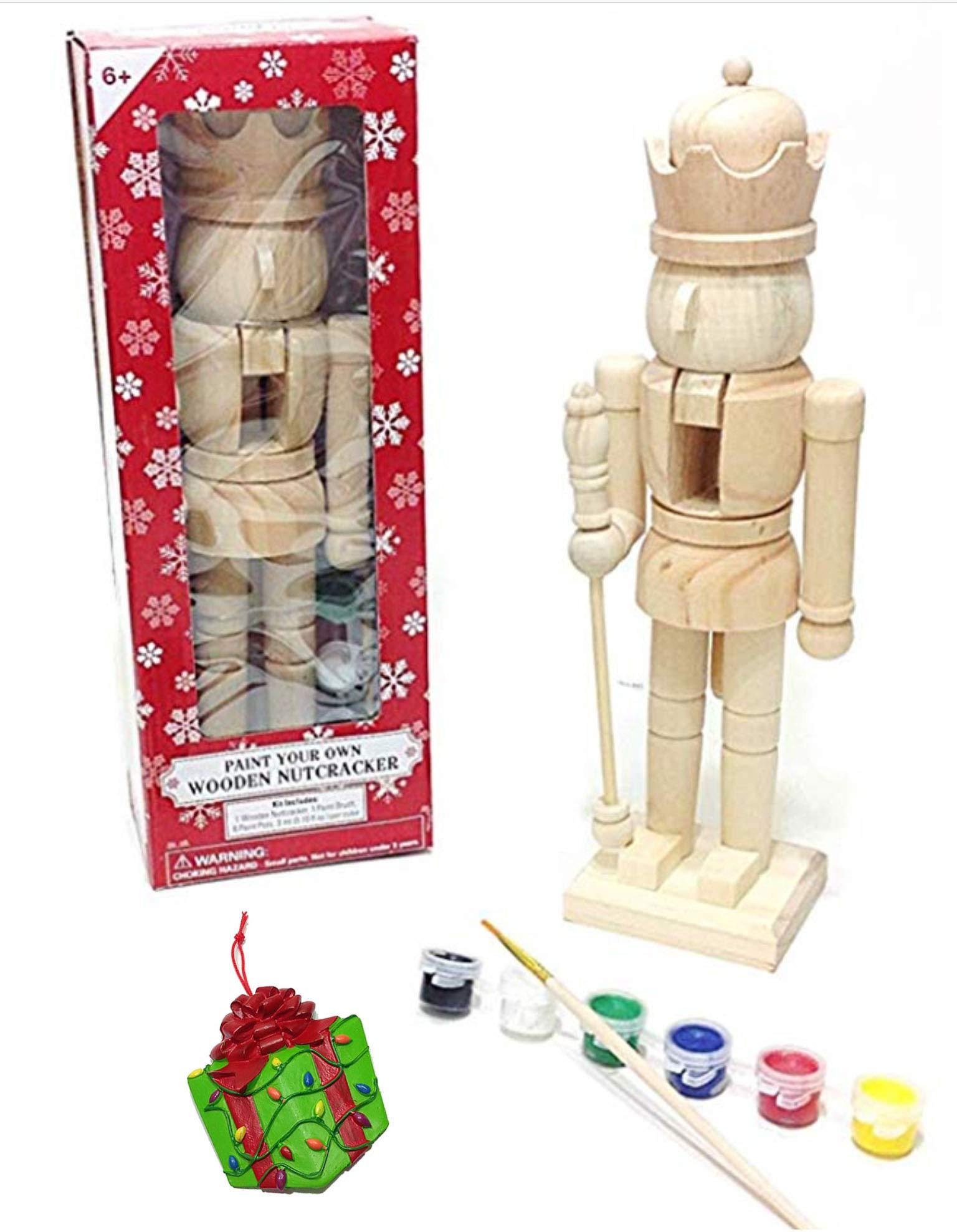 Large King Paint It Yourself Traditional Decorative Holiday Season Wooden Christmas Nutcracker Craft & Bonus Tree Ornament