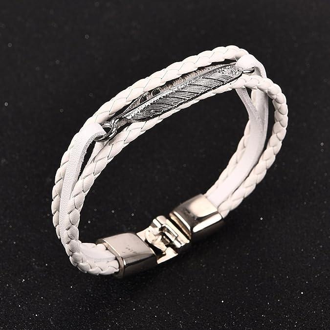 306de8b7ecbd6 DALARAN Bracelets en cuir blanc pour les hommes Bracelets en cuir  multicouche pour les femmes  Amazon.fr  Bijoux