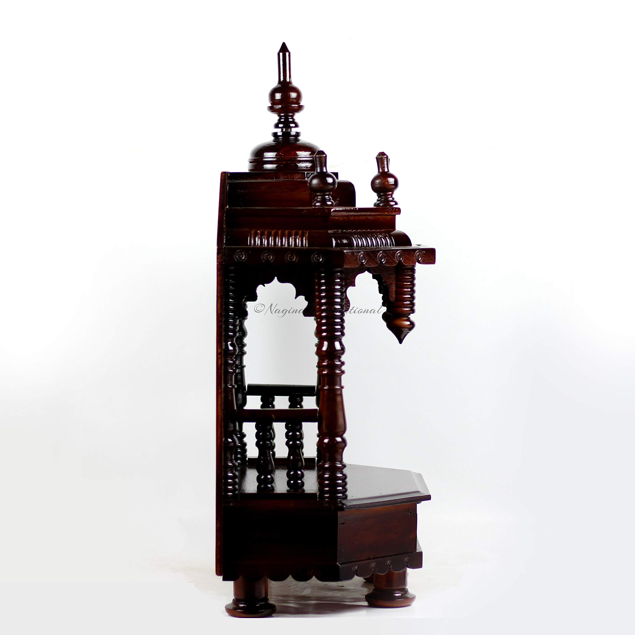 Nagina International Premium Hand Made Wooden Temple | Wooden Indian Mandir | Sheesham Wooden Madir (Dark Varnish) by Nagina International (Image #3)