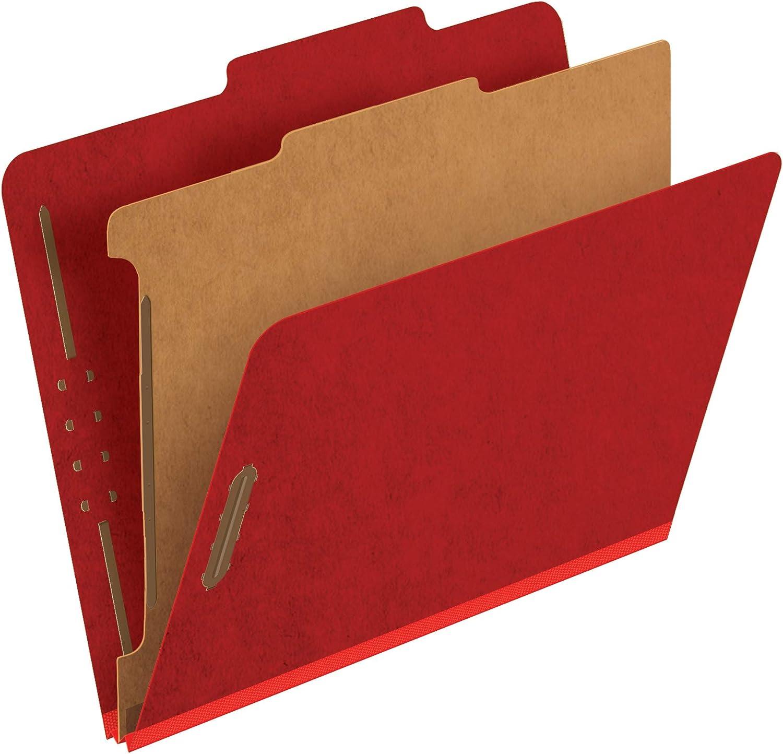 Pendaflex Classification Folders, Standard, 1 Divider, Embedded Fasteners, 2/5 Cut Tab, Bright Red, Letter, 10/BX (23731)