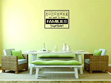 Peel /& Stick Wall Sticker Design with Vinyl Moti 2444 3 Decal Kitchens are Made to Bring Families Together Text Lettering Quote Color Black Size 20 Inches x 40 Inches