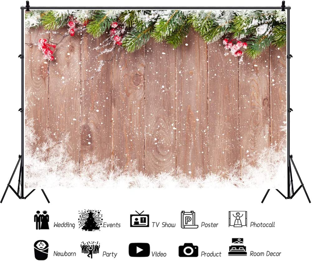CSFOTO 10x8ft Christmas Backdrop Wooden Board Snowflake Pine Needle Red Berry Chirstmas Party Background for Photography New Year Party Supplies Kids Newborn Photo Booth Props