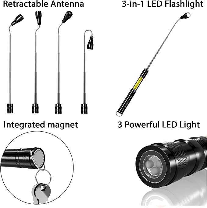 Silverline 483730 3 LED Extendable Magnetic Bright Torch Light Lamp 167-547mm