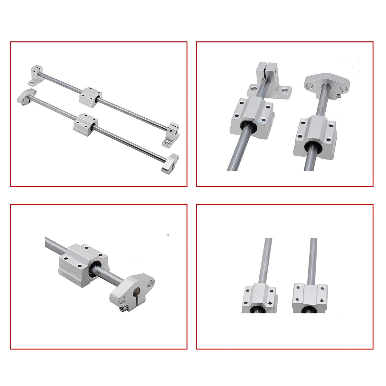 Pack of 4 HICTOP Linear Motion Ball Bearing CNC SCS8UU Slide Unit Bushing Linear Roller Bearing Slide Block