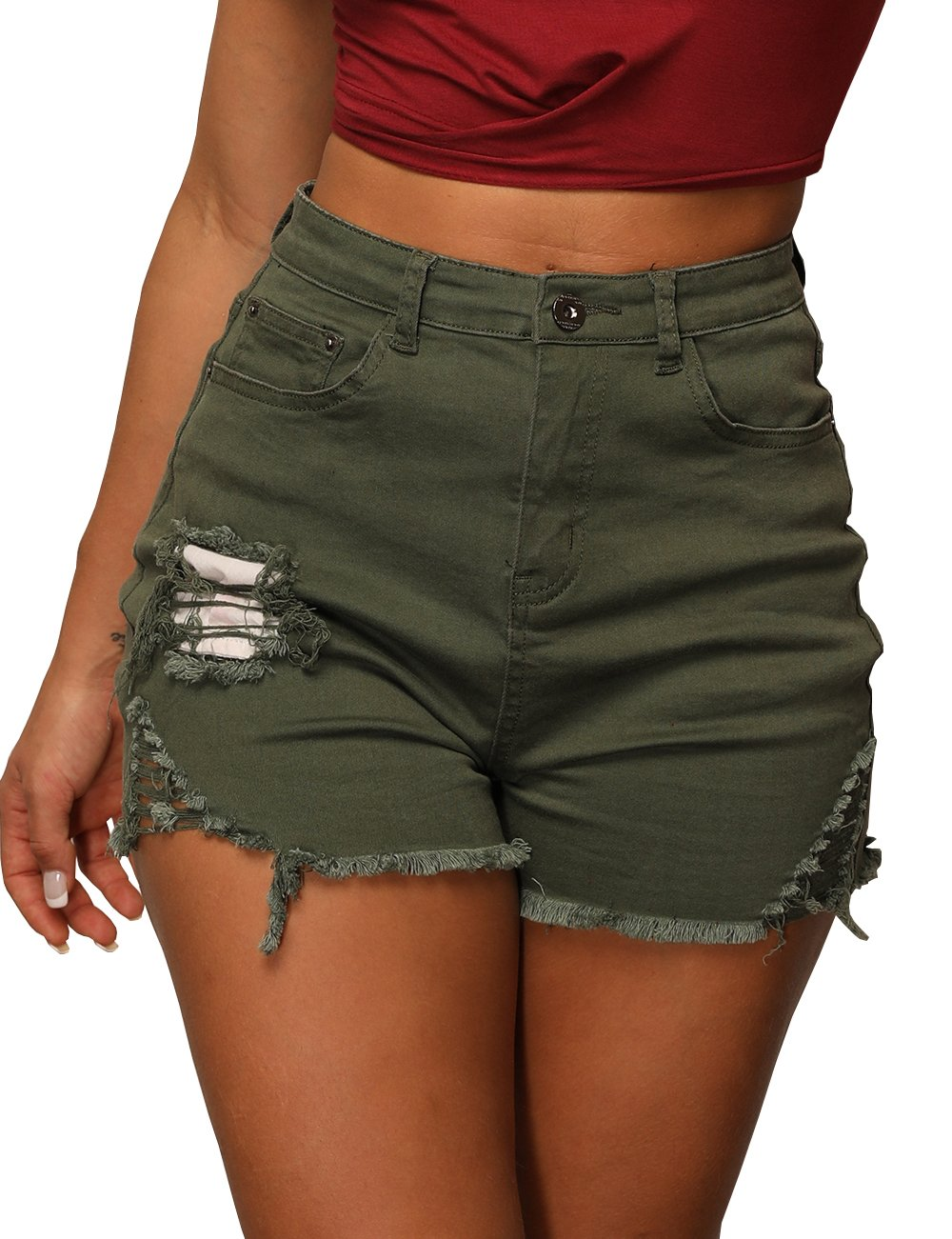 Women's Summer Shorts Girls Casual High Waist Ripped Hole Distressed Stretchy Shorts XL ArmyGreen