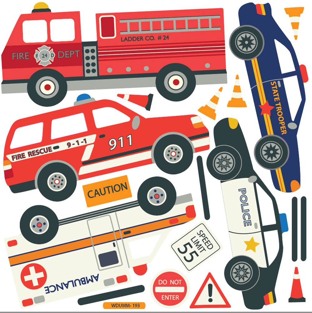 EMS Emergency Vehicles Fire Trucks Police Cars Wall Decals - Wall decals cars