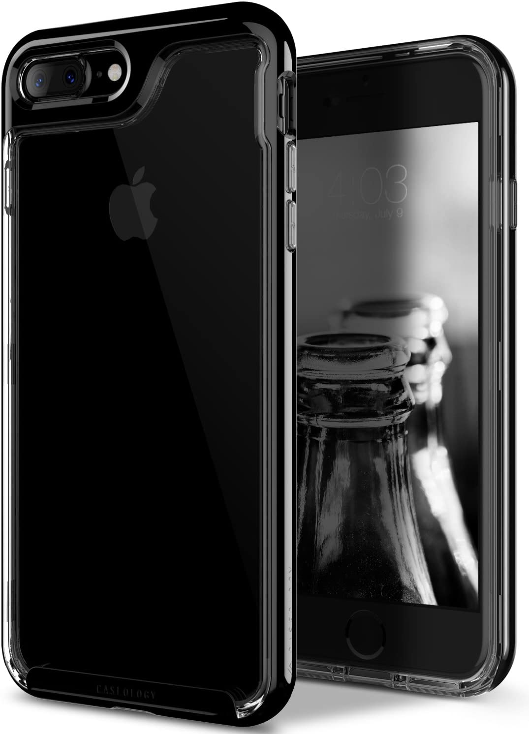 Caseology Skyfall for iPhone 8 Plus Case (2017) / iPhone 7 Plus Case (2016) - Clear Back & Slim Fit - Jet Black