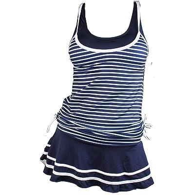 MiYang Women's Tankini Striped Vintage Swim Dress at Women's Clothing store