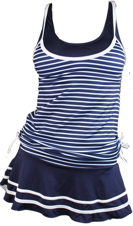 MiYang Women's Tankini Striped Vintage Swim Dress (Deep Blue L)