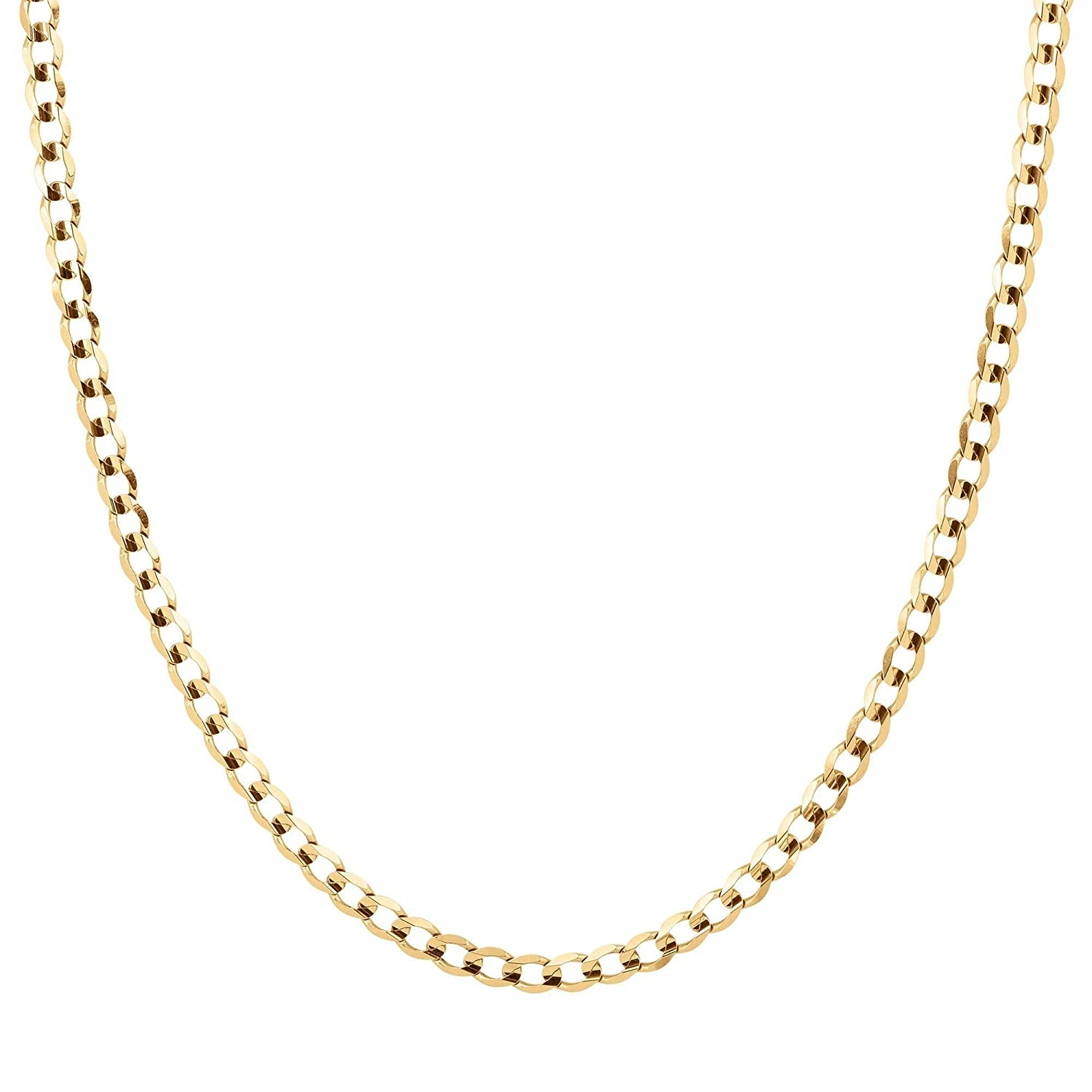 af19544ce59f5 Men's Yellow Gold Concave Curb Chain Necklace, 22 inches | Amazon.com