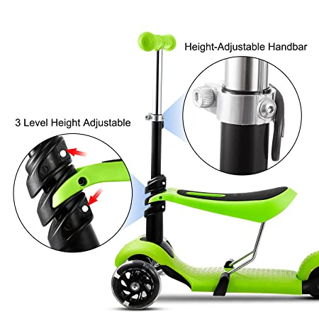 Aceshin 3-in-1 Kick Scooter for Kids Toddler Scooter Boys Girls with Removable Seat, LED Light Up Wheels and Adjustable Handlebar US Stock