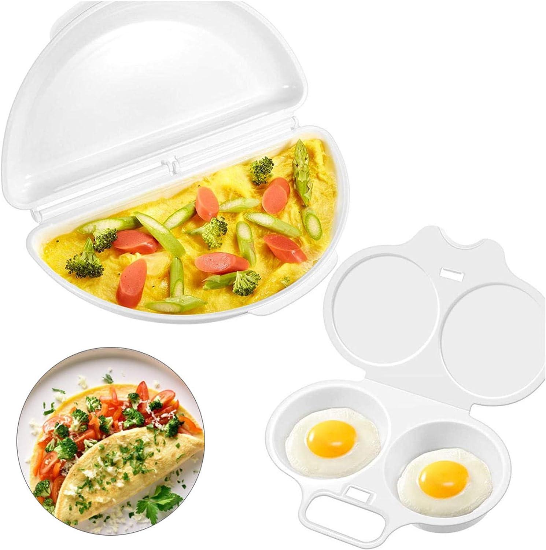 ManYee Egg Poacher 2 Cavity and Omelet Microwave Maker Microwave Egg Cooker Set Egg Breakfast Set for Quick & Healthy Breakfast