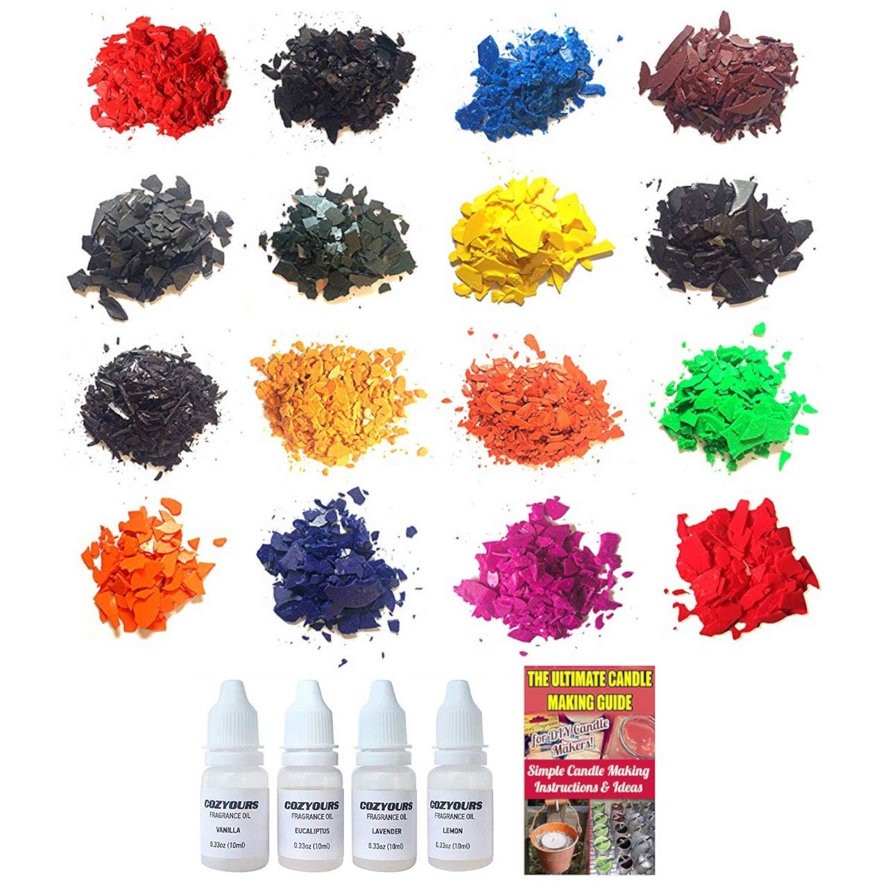 COZYOURS Colored Candle Wax Dye Flakes & Fragrance Oils, 16/4 Pack; Candle DIY Hacks E-Book Included!