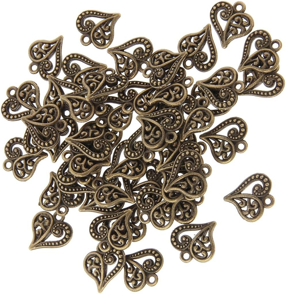 50x antike Bronze Herz DIY Charme Schmuck Anhänger Perlen
