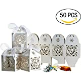 [50 PCS] Yosemy Boîte à dragées bonbons Coeur blanc pour Mariage Baptême à bonbons Parti Wrapper nacré/pailleté