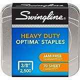 "Swingline Optima Staples, Heavy Duty / High Capacity, 3/8"" Leg Length, 125 per Strip, 2500/Box (S7035550)"