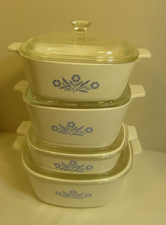 8 Piece Set - Vintage Corning Ware Cornflower Blue Casserole Set - 1 Qt, 1 1/2 Qt, 1 3/4 Qt, & 2 1/2 Quart