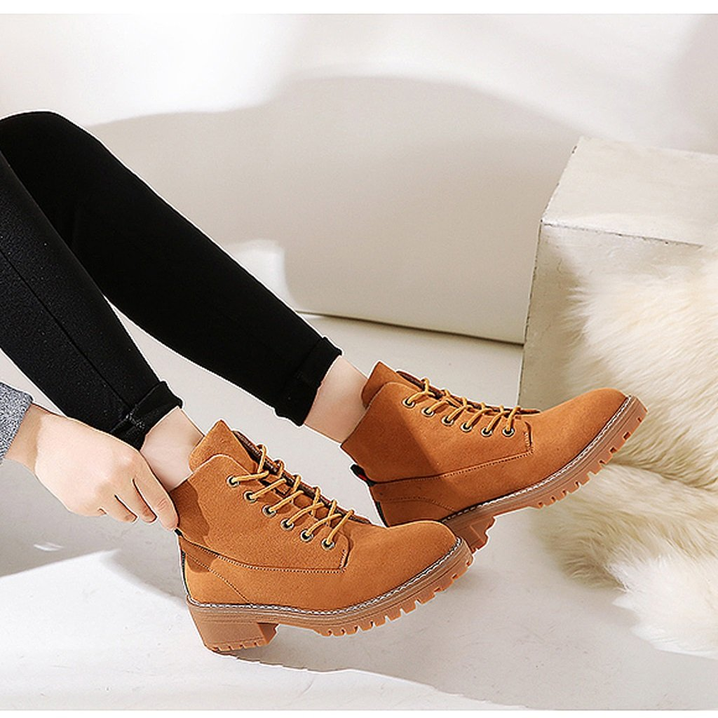 Women 's Martin boots autumn students personality fashion short boots ( Color : Brown , Size : US:6UK:5EUR:37 ) by LI SHI XIANG SHOP (Image #5)