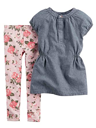 fdd0d2918 Carter's Infant Girl 2 Piece Set Denim Chambray Shirt Floral Leggings  Outfit 12m