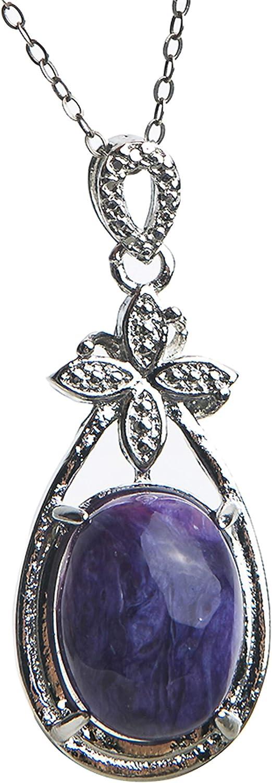 Fashion Charoite Gemstone Natural Quartz Crystal Stone Teardrop Pendant 925silver