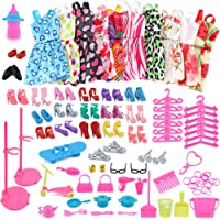 Amyove Juguete de Vestido Adornos Zapatos Accesorios para Muñeca Barbie,Moda Estilo Mixto como Regalo para Chica-10PCS