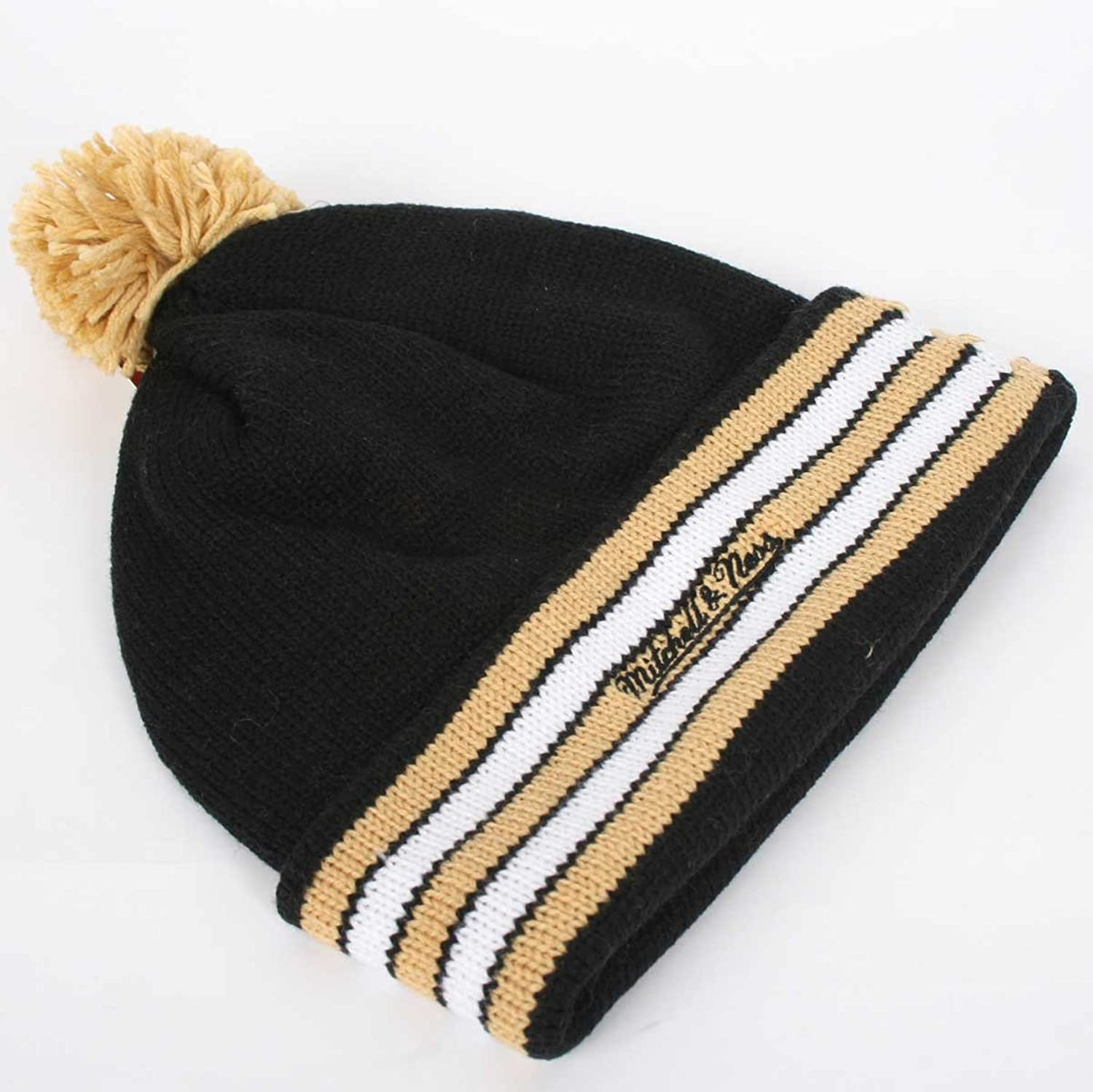 d8bf2bbb2 ... switzerland amazon nfl mitchell ness new orleans saints black gold throwback  jersey striped cuffed knit beanie