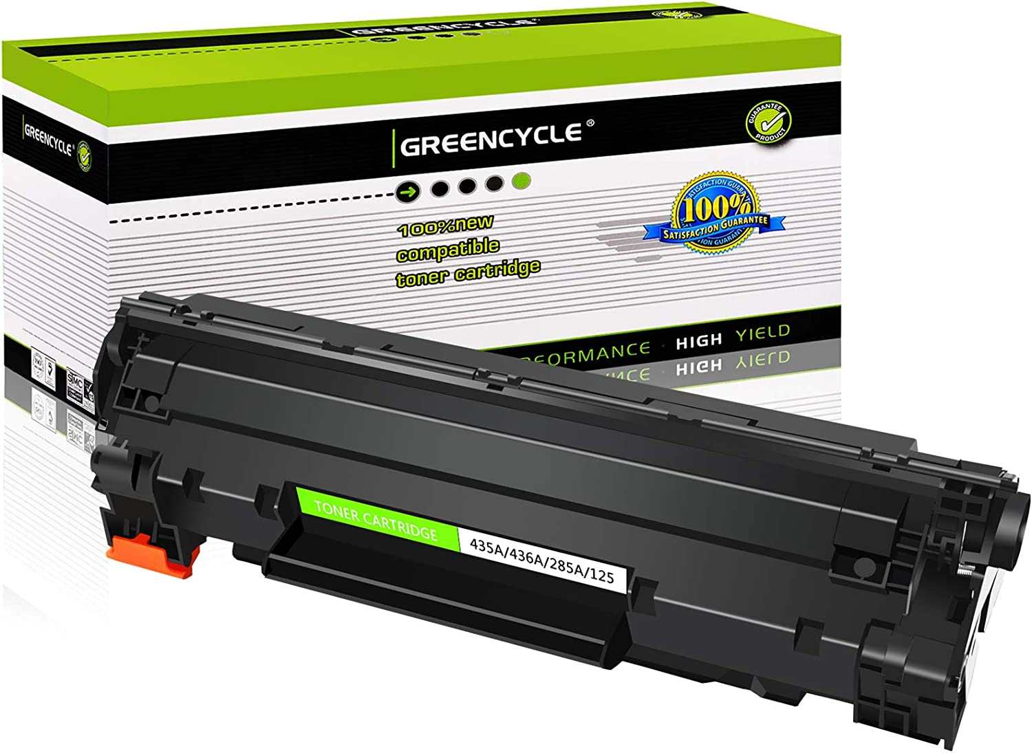 GREENCYCLE 1 Pack Compatible CB435A 35A Black Toner Cartridge Replacement for HP Laserjet P1005 P1006 P1007 P1008 P1009 Printer