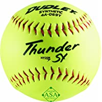 Dudley ASA Thunder Hycon Slowpitch Synthetic Softball - 12 Pack, Yellow, Size 12 (4A069YA)