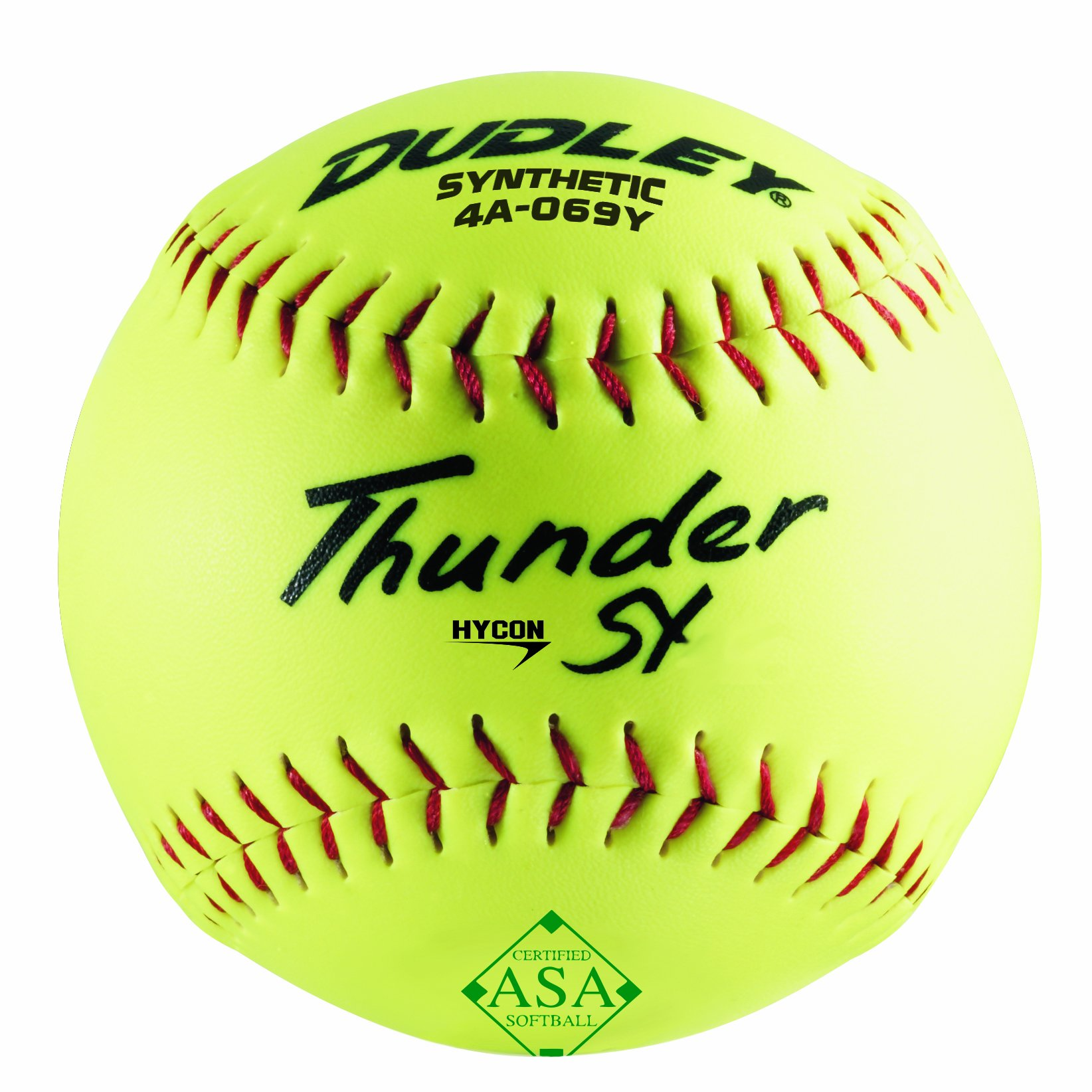 Dudley ASA Thunder Hycon Slow Pitch Synthetic Ball - Yellow - Size 12 - Pack of 12