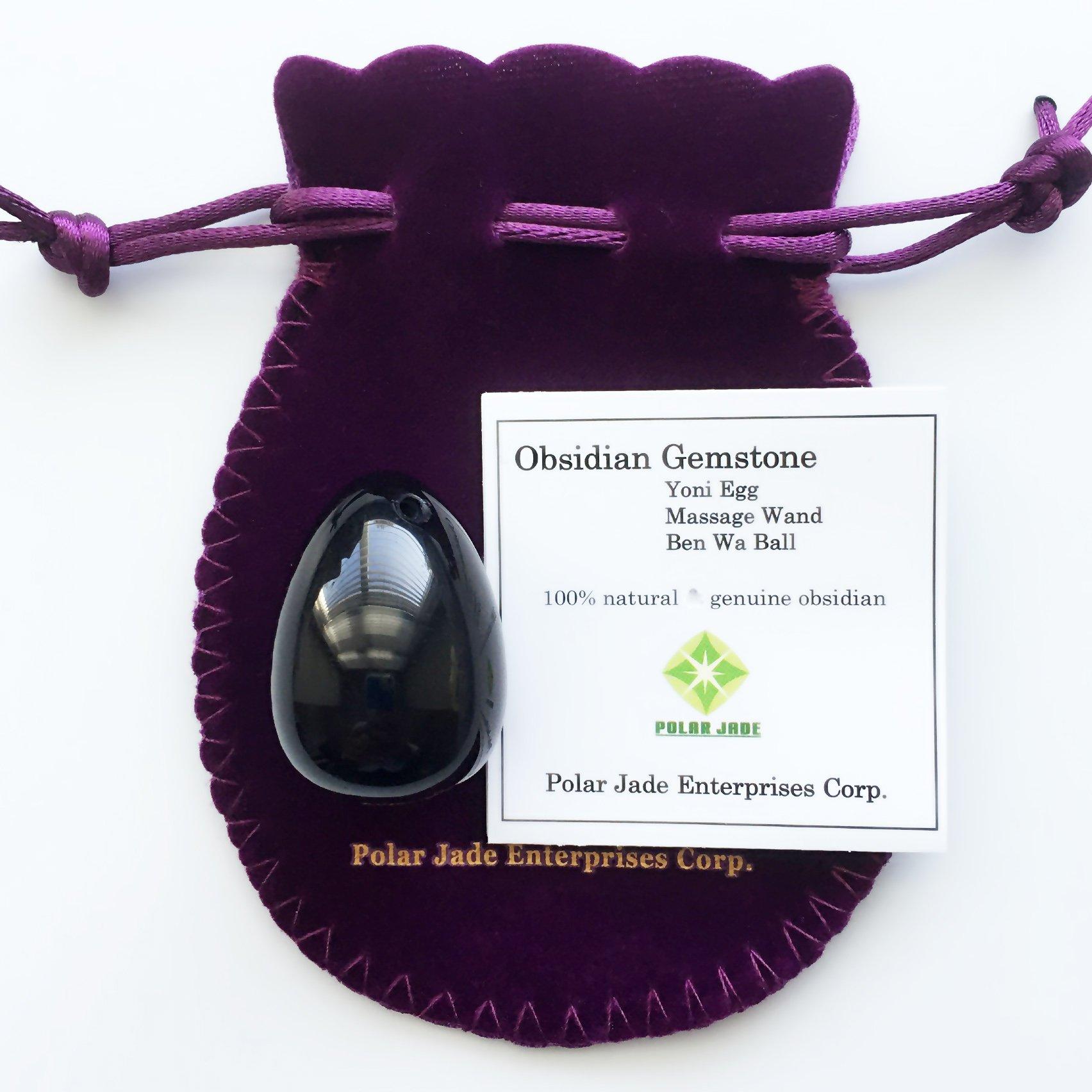 Yoni Egg of Obsidian Gemstone (Kegel Jade Egg), Drilled, Manually Polished, Entry Level Affordable, Small Size (35x25mm) by Polar Jade