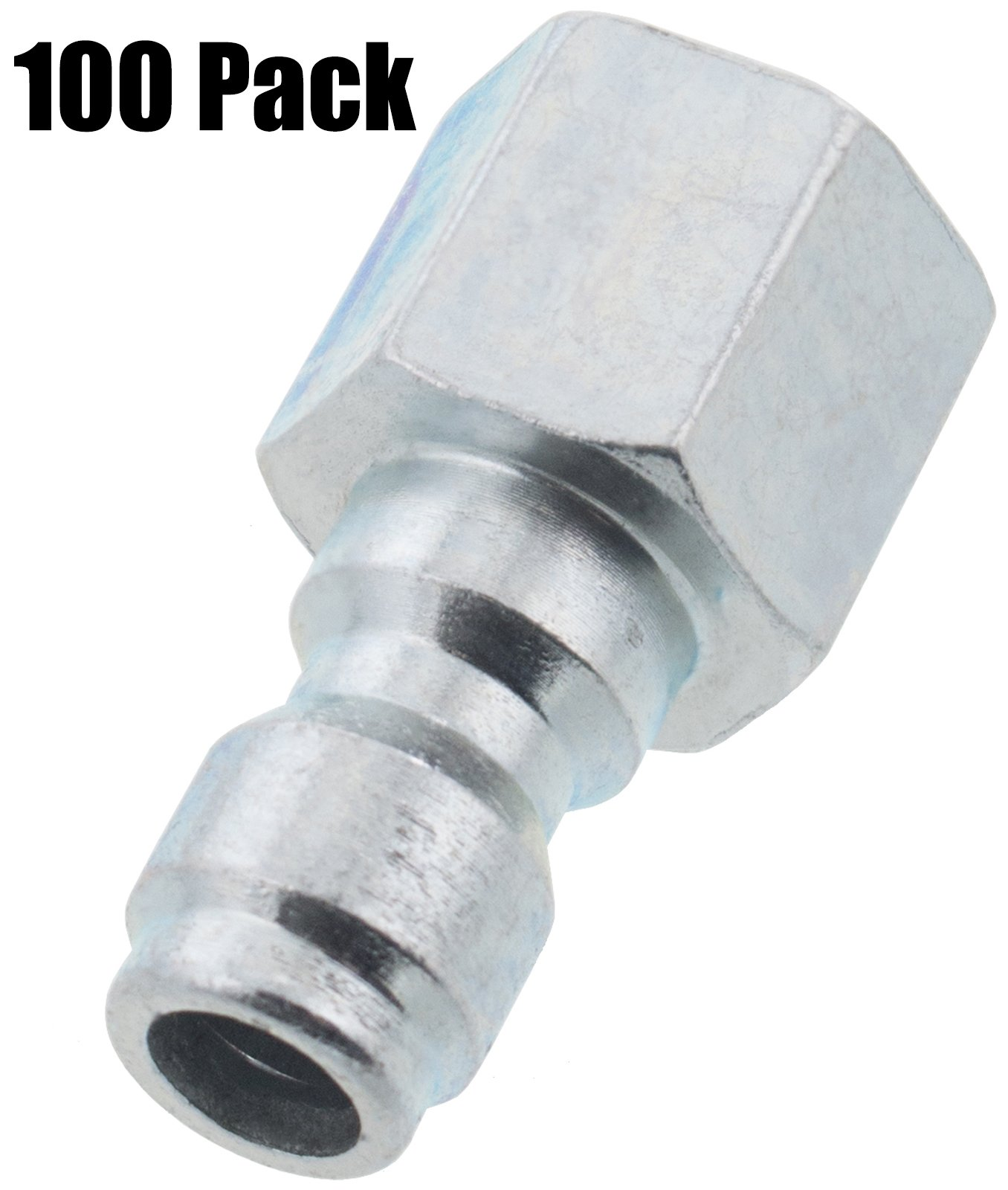 Erie Tools 100 1/4'' FPT Female Zinc Plated Steel Plug Quick Connect Coupler 4000 PSI 10 GPM for Pressure Washer Gun Hose Wand Nozzle