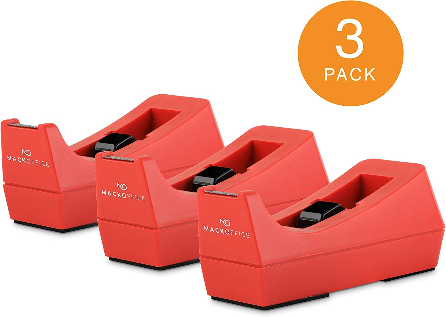 MackOffice Desk Tape Dispenser (Red, 3 Pack) Weighted core and Non-Skid Rubber Base to Keep Dispenser in Place. one-Hand Dispensing for 1/2 or 3/4 Inch Tape Roll up to 1500 in Long Office School