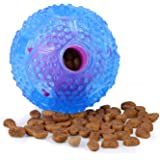 Interactive Dog Ball Toy, Adoric Life IQ Treat Ball Food Dispensing Dog Toy Teeth Cleaning Ball Training Ball, Non-Toxic Durable Rubber Playing Chew Toy Balls for Small Medium Large Dogs (Blue)
