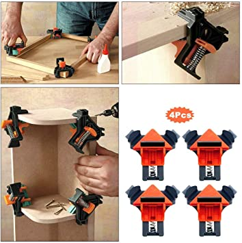 4pcs 90° Corner Right Angle Clamps Woodworking Corner Clip Fixer for Engineering